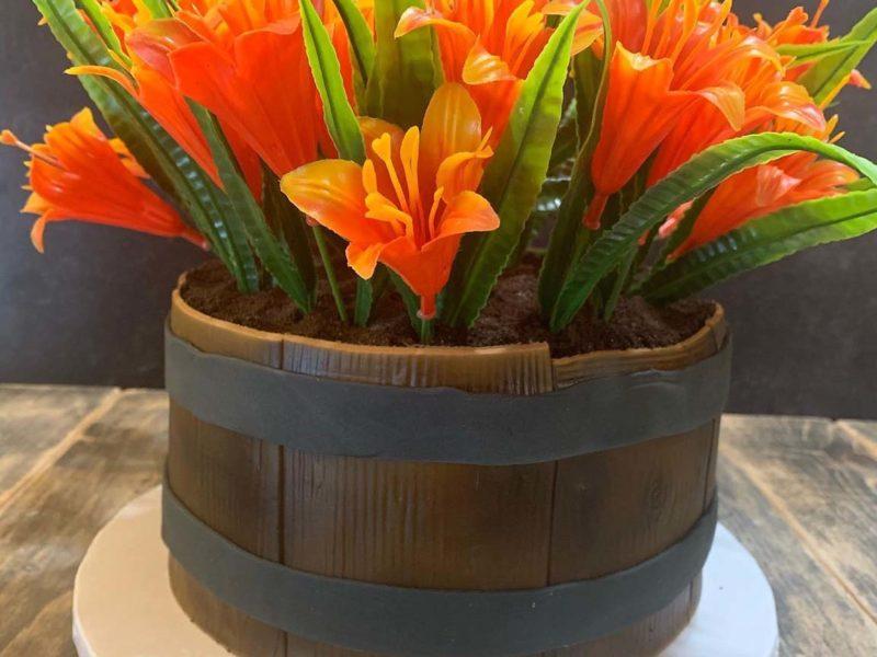 Tiger Lily Flower Pot Cake